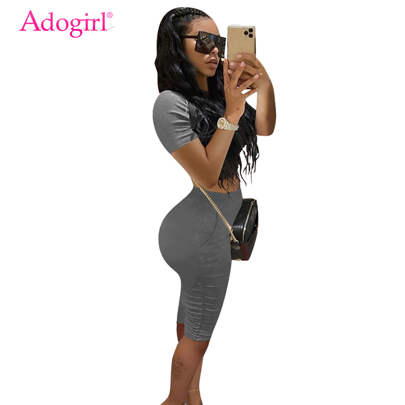 Adogirl Fashion Casual Summer Two Piece Set Women Tracksuit Short Sleeve T Shirt Crop Top Knee Length Pleated Pants Shorts