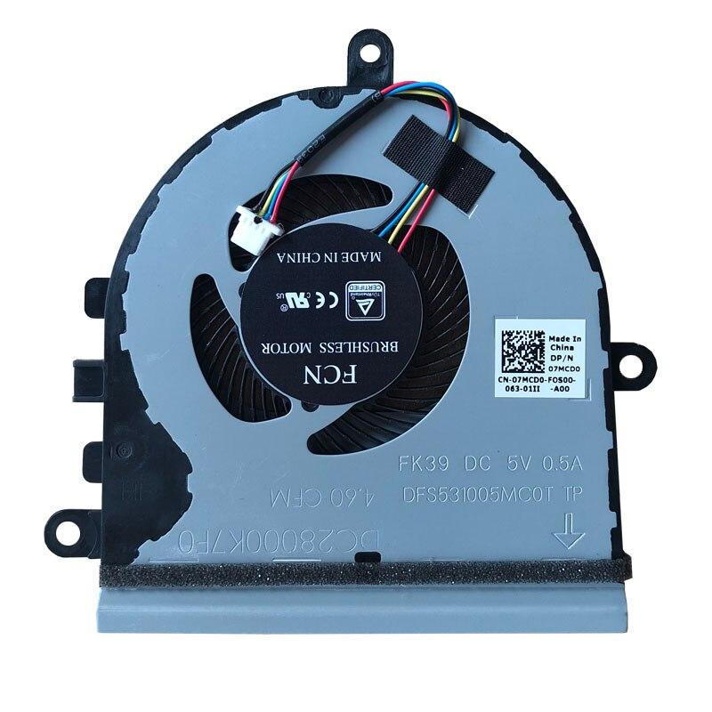 Ventilador de refrigeração da cpu do portátil para dell inspiron 5570 15-5575 15-5570 p75f série vostro 3583 3585 07mcd0 dc28000k7f0