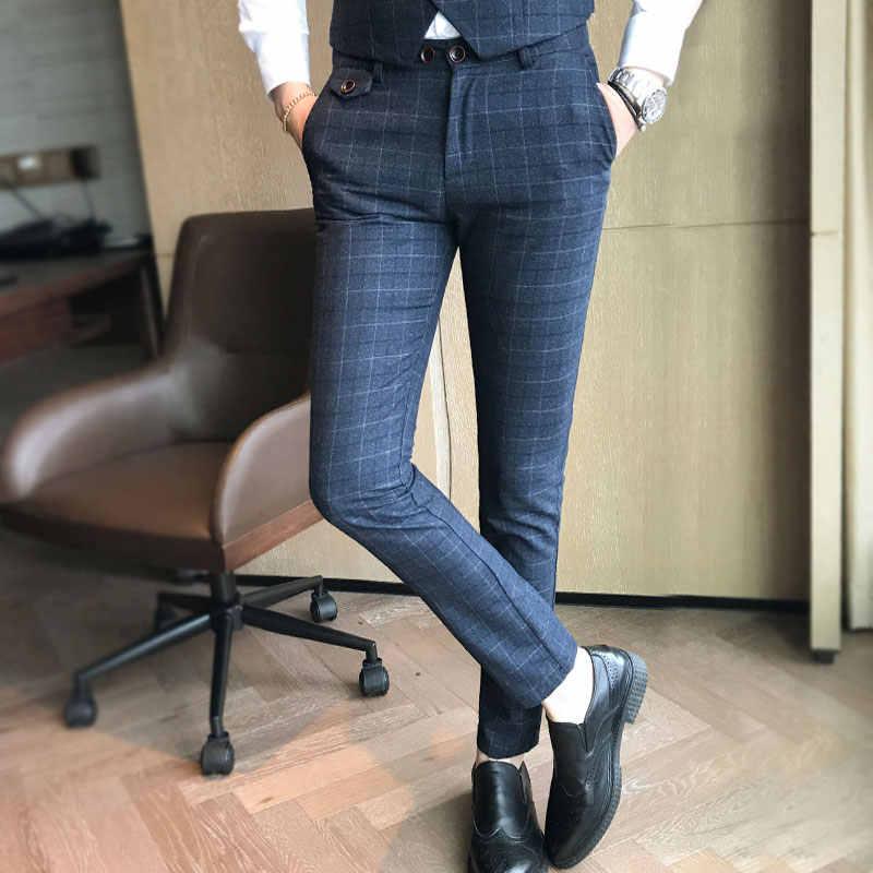 (ブレザー + パンツ + ベスト) 高級メンズスーツ 3 点セットファッションブティック格子新郎ウェディングドレス男性のタキシード男性宴会ドレス