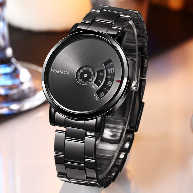 2020 WoMaGe Fashion Mens Creative Watches Men Stainless Steel Watches Men's Quatrz Wristwatches Luxury Mens Black Watches Clock