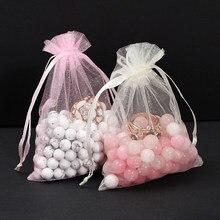 50 adet/grup 7*9/9*12/10*15/11*16/13*18cm İpli organze torbalar takı ambalaj poşetleri düğün parti SmallGift çantası