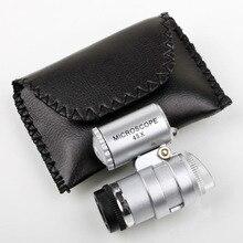 1 шт. 45X карманный размер мини-микроскоп Лупа увеличительное стекло Ювелирная Лупа стеклянная линза 2LED светильник увеличительное стекло