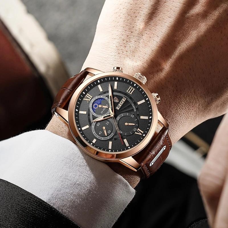 2021 LIGE Men's Watches Top Brand Luxury Men Wrist Watch Leather Quartz Watch Sports Waterproof Male Clock Relogio Masculino+Box 4