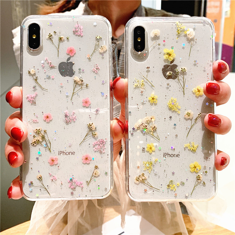 Real Flowers Transparent Soft TPU Phone Case For iPhone 11 12Pro X XR XS Max 6 7 8 Plus Dried Flowers Bling beautiful Back Cover