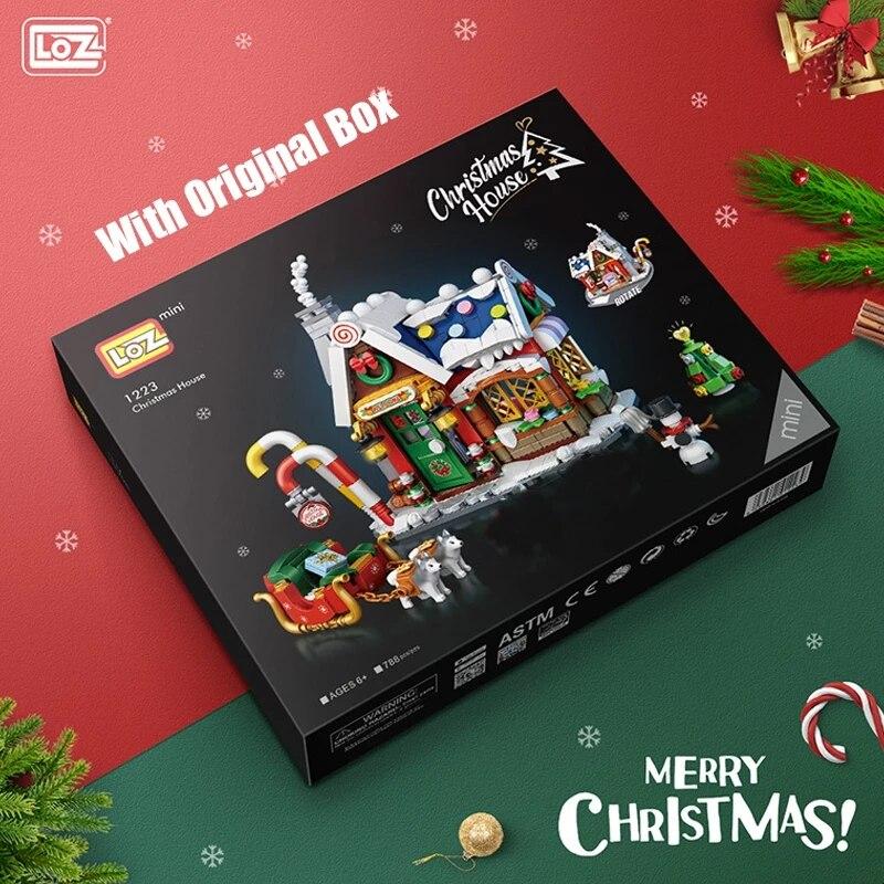 788pcs LOZ Mini Blocks Architecture Merry Christmas House Santa Claus Snowman Tree Deer Building Blocks Bricks Toy For Kids Gift
