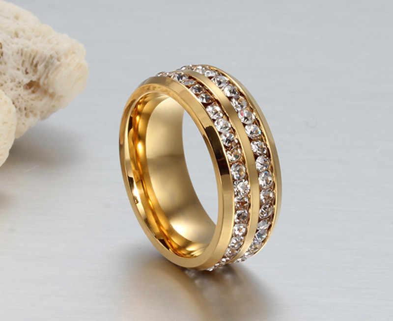 ZORCVENS 8 มม.magnificence งานแต่งงานแหวนคู่สแตนเลสเต็มรูปแบบ CZ หินชายผู้หญิงหรูหราแหวน