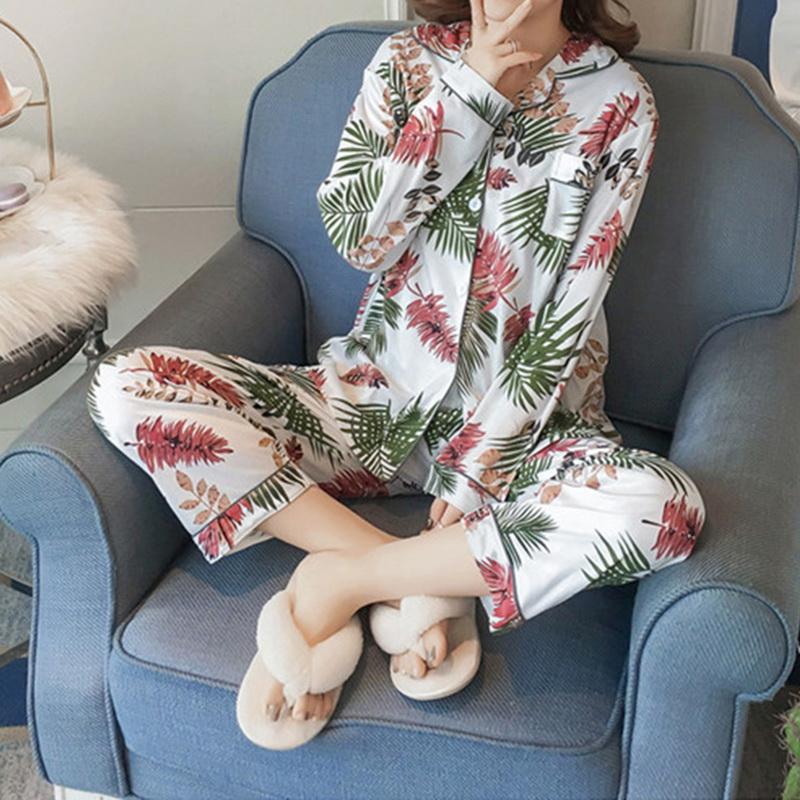 Women Two Pieces Leaf Turn-down Collar Female Casual Homewear Ladies Pajamas Set Women Floral Printed Women's Sleepwear Set