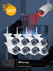 3MP CCTV Wireless Security NVR Camera Kit 8CH Audio Record Outdoor P2P WIFI IP Camera