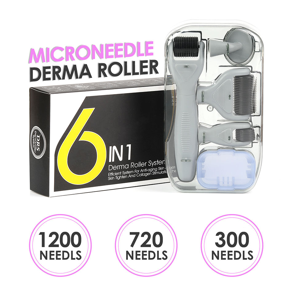 GT 6 In 1 Microneedle Derma Roller Kit 12-1200 Needles Titanium Dermaroller Micro Needle Facial Roller Skin Care Body Treatment