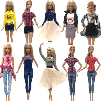 NK Hot sale  1xDoll Dress Girls' Outfit Handmade Party Clothes Top Fashion Skirt For Barbie Doll Baby Toys Girls' Gift  G1 JJ 1