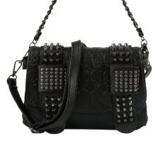 Women Black Leather Messenger Bags Fashion Vintage Cool Skull Rivets Shoulder