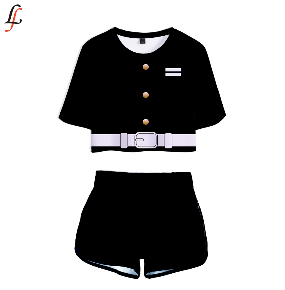 Demon Slayer Two Piece Set Sexy Short Top And Middle Waist Shorts Kimetsu No Yaiba Lady Fitness Summer Fashion Sport Tracksuits