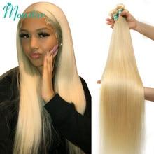 Monstar-extensiones de cabello humano para mujer mechones de cabello brasileño liso Remy de 1/613 3/4 Rubio, 28 30 32 34 36 38 40 pulgadas, extensión de cabello