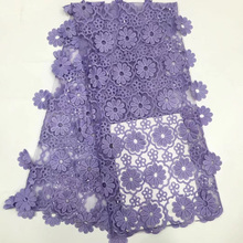 Lilás roxo africano tule tecido de renda com flores penduradas renda líquida francesa com lantejoulas para vestido festa 9 cores fzz480