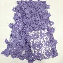 Lilas violet africain tulle dentelle tissu avec des fleurs suspendues français net dentelle avec des paillettes pour robe de soirée 9 couleurs FZZ480