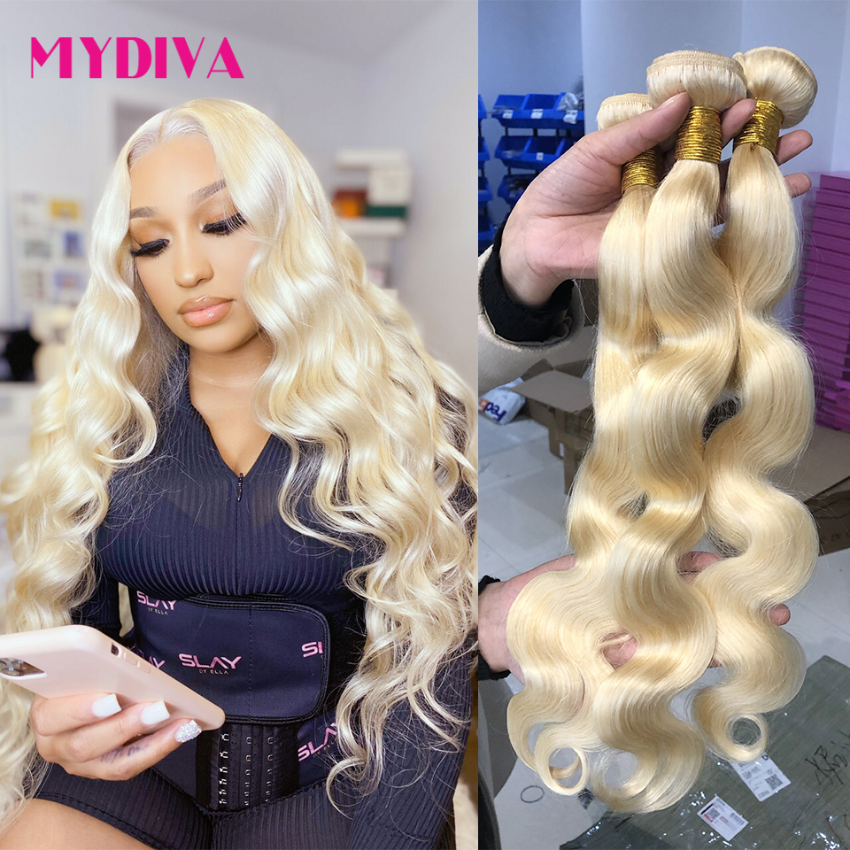 28 30 32inch 613 Blonde Bundles Brazilian Hair Weave Bundles Body Wave Honey Blonde Bundles Remy Human Hair Extensions Mydiva