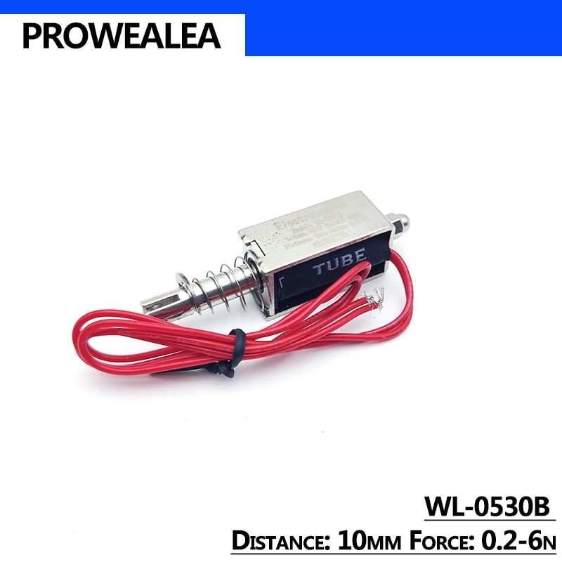 Solenoid Electromagnet Push Pull Type WL-0530B 5V 6V 12V 24V Thrust Force 0.2-6N 10mm Open Frame Lin