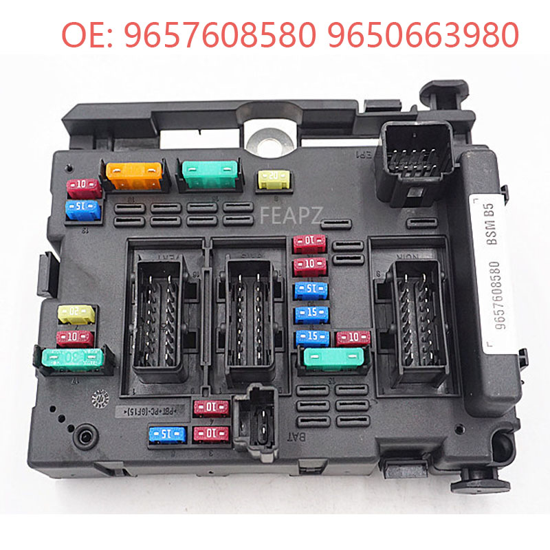 fuse box unit in engine bay assembly relay for citroen peugeot 9657608580  9650663980 bsm 6500y1|fuses| - aliexpress  www.aliexpress.com