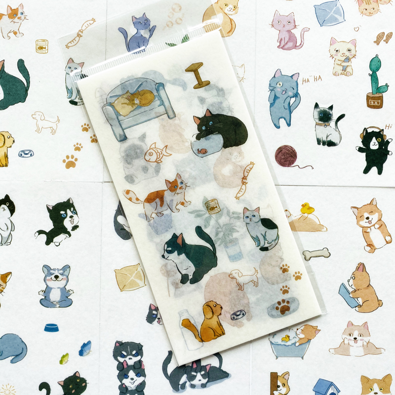 6 Sheets/Pack Cute Pet Cat Dog Daily Life Paper Sticker Phone Album Scrapbooking DIY Decor Stick Label Stationery Kids Gift
