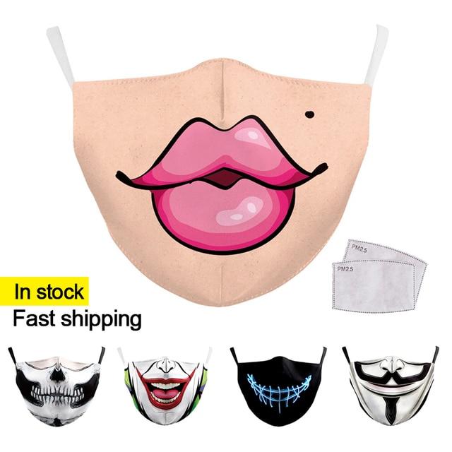 Reusable Face Mask Protective Dustproof bacteria proof Flu Mouth Mask Funny Pattem Print Grimace Ghost Skeleton
