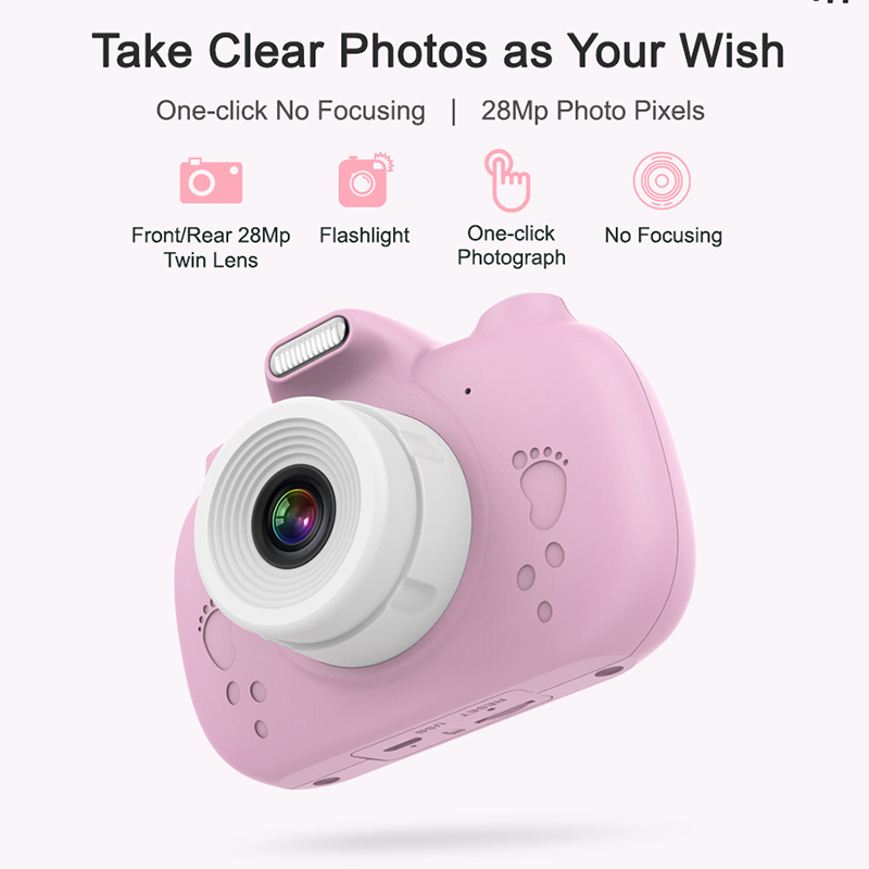 Digital Kids Camera 3Inch TouchScreen Dual Lens Cartoon Photography Birthday Gift VH99 image