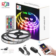 ColorRGB listwa oświetleniowa LED muzyka zsynchronizowana zmiana koloru RGB5050 aplikacja na telefon pilot LED lekki sznur 6M 12M 15M tanie tanio aiopp CN (pochodzenie) Bedroom PRZEŁĄCZNIK Taśmy 12 v Smd5050