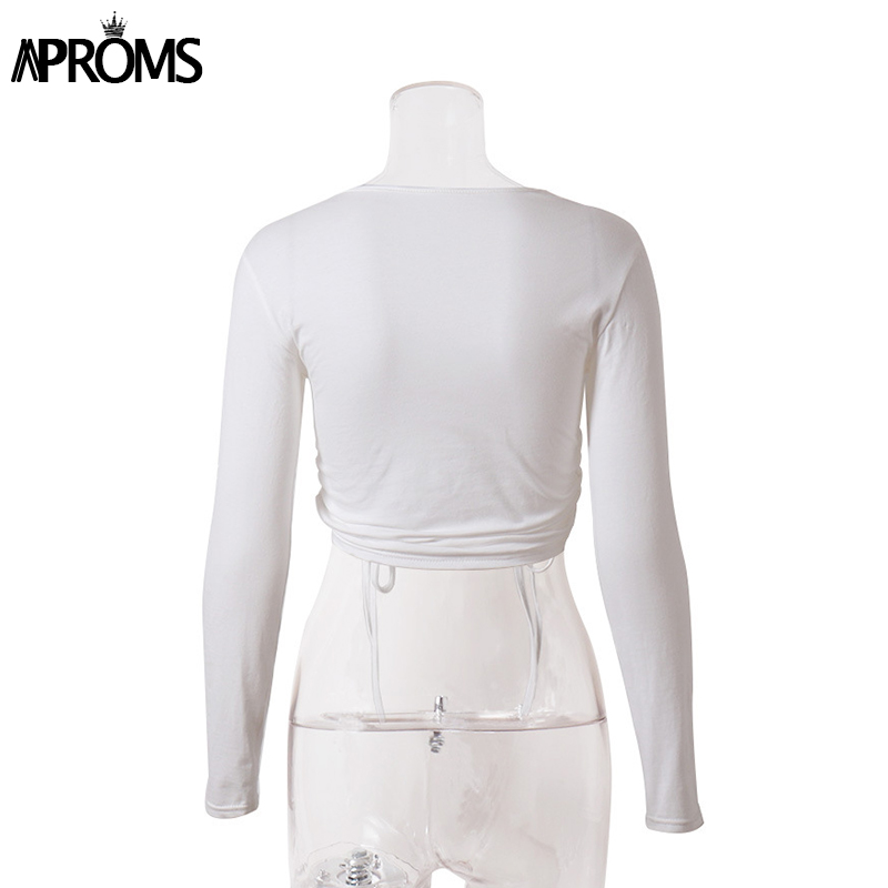 H8e7a380b1bc34f9e9acd3e201f54a56ar - Aproms Sexy White Long Sleeve Crop Top Autumn Casual Drawstring Ruched T-shirt Female Cropped Tshirt Top for Women Clothing