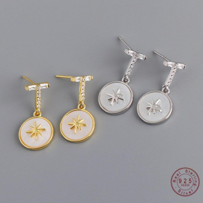 925 스털링 실버 간단한 여섯 지적 스타 새겨진 라운드 펜던트 귀걸이 여성 라이트 럭셔리 궁전 연회 쥬얼리 액세서리