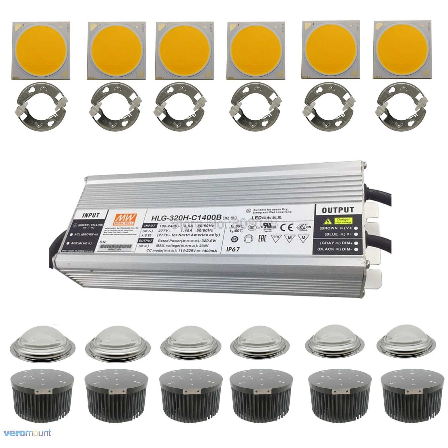 320W 6pcs CREE COB CXB3590 LED Plant Grow Light Dimmable Mean Well HLH-320H-C1400B Driver 133mm Heatsink Ideal Holder 100mm Lens