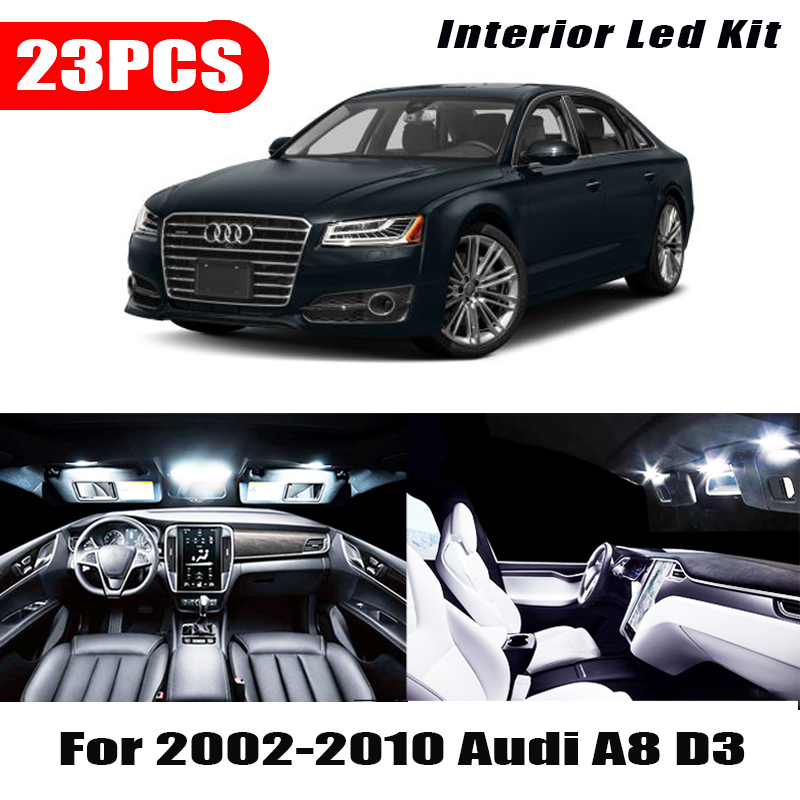 23x White Interior LED Light Bulbs Canbus Kit For 2002-2010 <font><b>Audi</b></font> <font><b>A8</b></font> <font><b>D3</b></font> Accessories Map Door Glove Box License plate light Lamp image