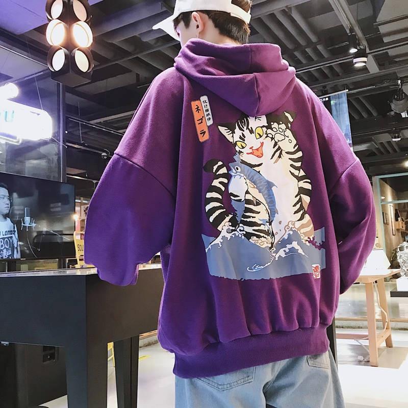 Fashion Men Streetwear Funny Cat Hooded Hoodies 2019 Mens Hip Hop Harajuku Sweatshirts Male Korean Fashions Purple Hoodie INS