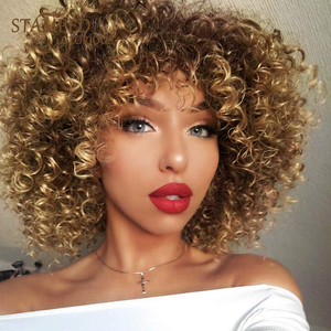 Stamped Glorious 14inches Afro Kinky Curly Wig Synthetic Short Wig With Bangs Mixed Brown and Blonde Wig for Black Women