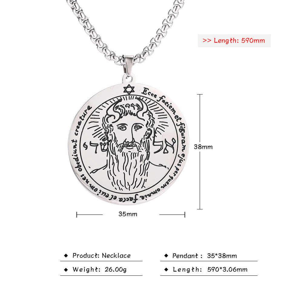 Pierwszy pentagram słońca klucz salomona naszyjnik łańcuch Amulet Viking żydowski stal nierdzewna złoty kolor długie naszyjniki mężczyzn