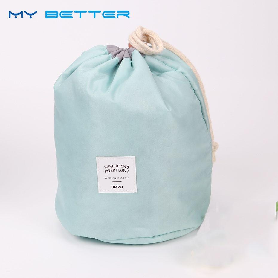 Barrel Shaped Travel Cosmetic Nylon Wash Bags Makeup Storage Bag Big Capacity Makeup Organizer Storage Bag