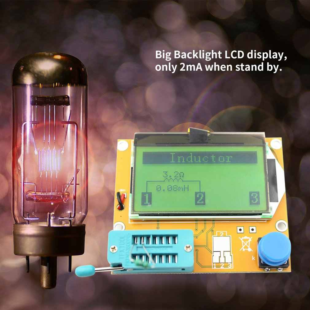 LCR-T4 LCD cyfrowy Tester próbnik elektroniczny miernik dioda podświetlenia trioda pojemność miernik parametru ESR dla MOSFET/JFET/PNP/NPN L/C/R 1