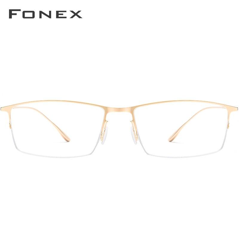 FONEX Titanium Alloy Glasses Men Ultralight Square Myopia Eyeglasses Frame Prescription Optical Frame Korean Eyewear 8101