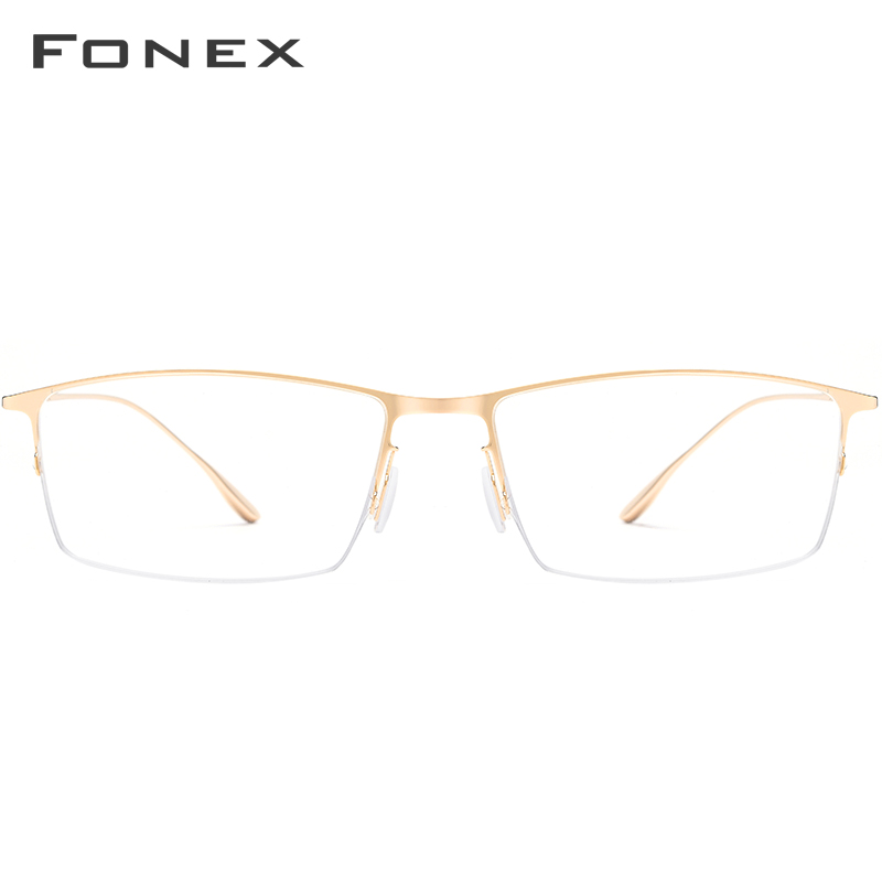 FONEX Titanium Alloy Glasses Frame Men Ultralight Square Myopia Prescription Eyeglasses Optical Korean Eyewear 8101