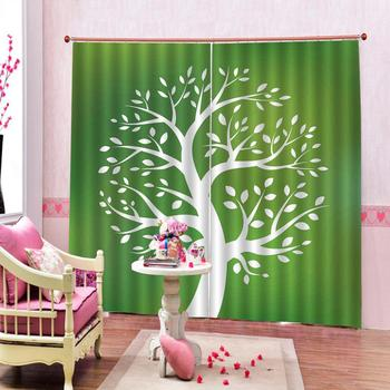 green curtains tree 3D Blackout Curtains For Living room Bedding room Drapes Cotinas para sala