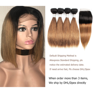 Image 4 - MOGUL HAIR 50g/pc 4/6 Bundle with Closure Honey Blonde Bundles With Closure T 1B 27 Brazilian Straight Ombre Remy Human Hair