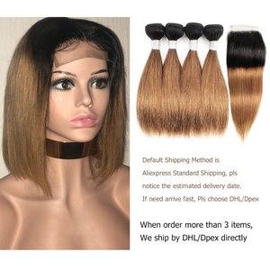 Image 4 - Mechones de cabello MOGUL de 50g/pieza 4/6 mechones con cierre rubio miel con cierre T 1B 27 pelo humano brasileño liso Ombre Remy