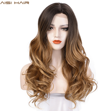 AISI HAIR Long Wavy Synthetic Wigs Lace Front Wig