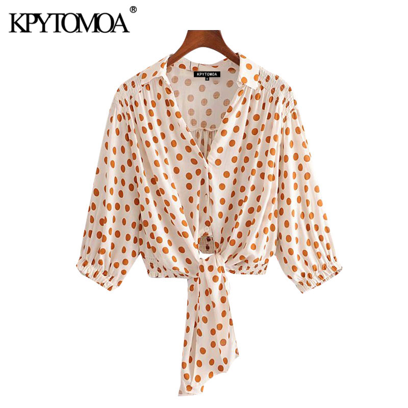 KPYTOMOA Women 2020 Fashion With Bow Tied Polka Dot Cropped Blouses Vintage Elastic Hem Button-up Female Shirts Chic Tops