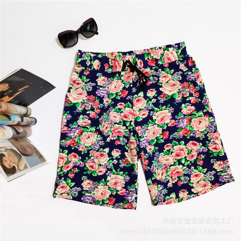 Hot Selling New Style Men-Style Swimming Trunks Europe And America Dai Dou Drawstring Beach Shorts Peony Swimming Trunks Wholesa