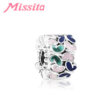 MISSITA 2019 New Silver Drip Colorful Butterfly Beads fit Pandora Bracelet DIY Jewelry Women Bracelets Accessories