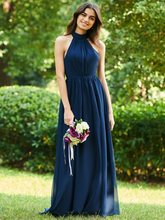 New Navy Blue Long Bridesmaid Dresses 2019 Halter Bowknot Backless Dress Chiffon Pageant Vestidos De Festa