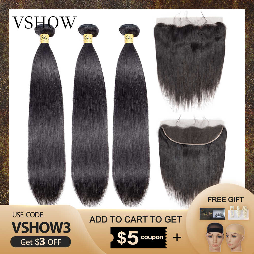 VSHOW Cambodian Straight Hair Bundles With Frontal 13x4 Lace Closure Pre Plucked 100% Remy Human Hair Weaves With Frontal