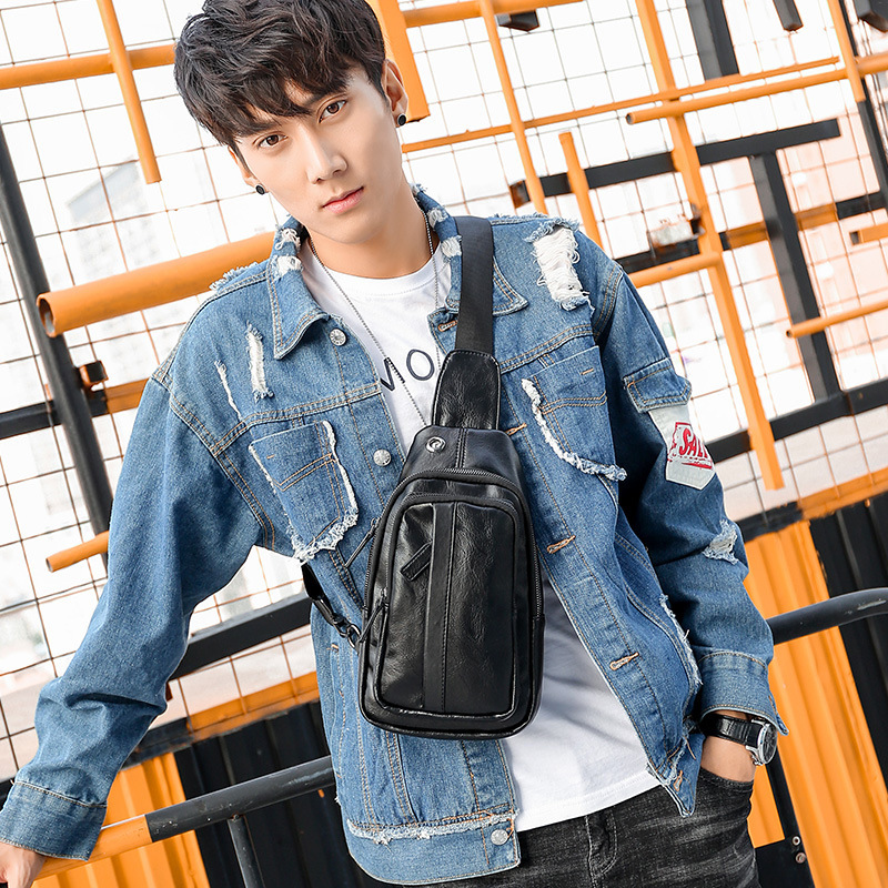 2019 new casual men 39 s chest bag shoulder bag Korean men 39 s small satchel fashion men 39 s tide in Waist Packs from Luggage amp Bags
