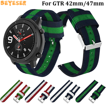 22mm bracelet strap for xiaomi huami amazfit pace stratos 2 gtr 47mm band for samsung gear s3 pulsera for huawei 2 pro gt correa Soft Nylon 20mm 22mm wrist strap for Xiaomi Huami Amazfit Bip/GTR 42mm 47mm/Stratos 2/2S PACE smart watch band sport bracelet