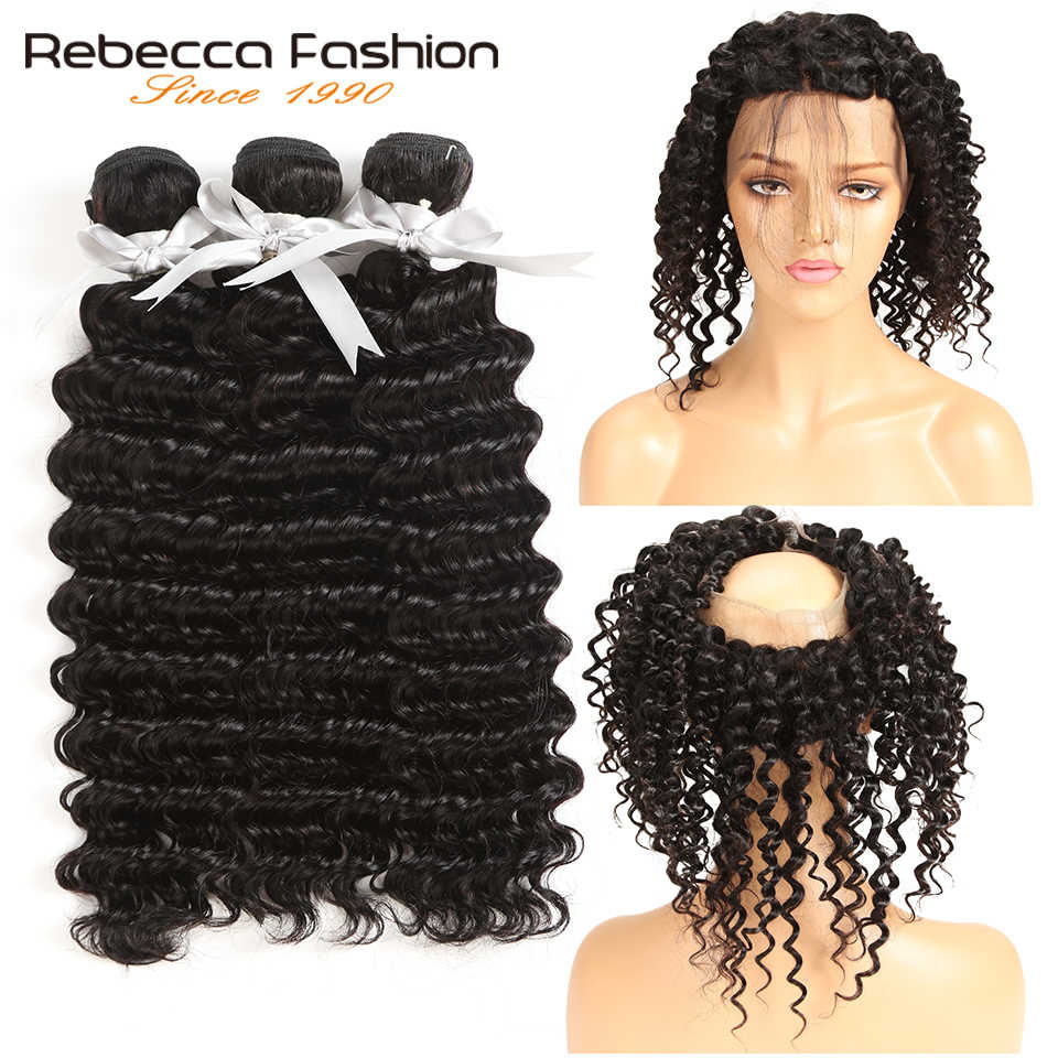 Rebecca Brazilian Deep Wave Remy Human Hair Bundles With 360 Closure Deep Wave 360 Lace Frontal With Bundles Hair Extension