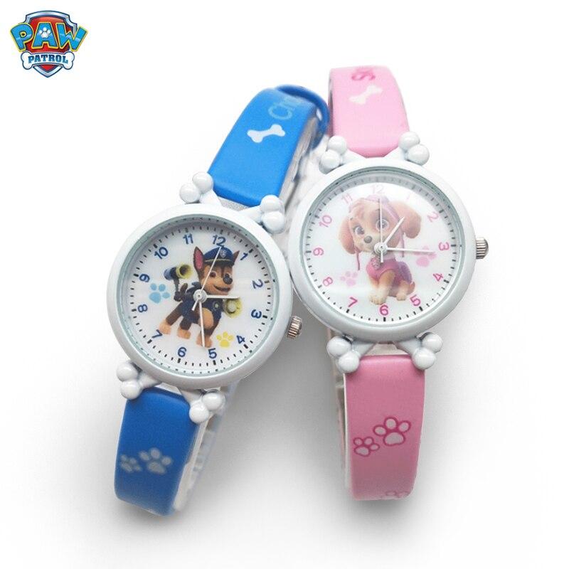 Paw patrol relógio eletrônico impermeável, desenhos animados, figura, brinquedos, crianças, pulseira de couro, meninos, menina, relógio de quartzo, presente das crianças